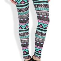 Legging with Multicolor Tribal Sun Scroll Print