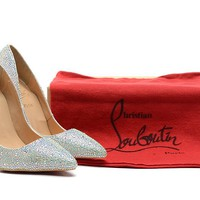 Christian Louboutin Diamond Tip Wedding Shoes High Heels 100mm