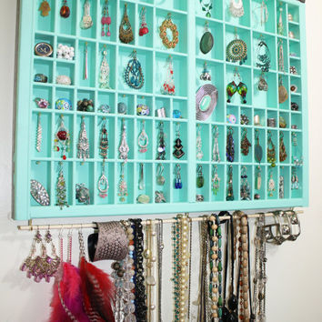 Sky Blue Vintage type drawer jewelry display,  type drawer jewelry box, accessories storage, Unique Earring Holder, Ready to Ship