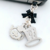 Time for tea iPhone charm, mouse and hat phone dust plug charm, cute fairytale accessory