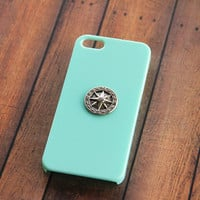 Mint Green iPhone 5 Case, Trendy iPhone 5 Cases, Hipster iPhone 5 Case,Nautical Cases Galaxy, Samsung Phone Cover Nautical, Compass, iPhone4