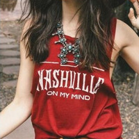 "Red ""Nashville"" Letter Print Sleeveless T-Shirt"