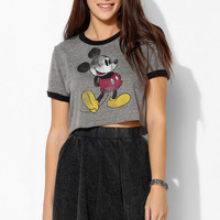 DOE Mickey Mouse Ringer Cropped Tee - Urban Outfitters
