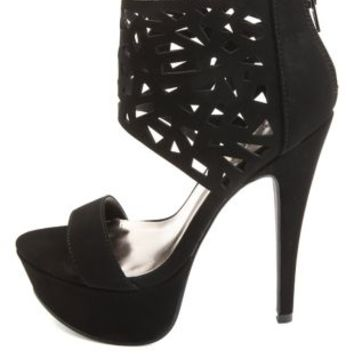Laser Cut-Out Ankle Cuff Platform Heels by Charlotte Russe
