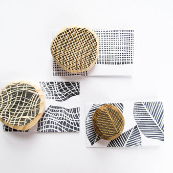 RECYCLED WOOD BROOCHES Three handmade round natural wooden pin Hand printed painted Reclaimed abstract minimalist modern hipster ecofriendly