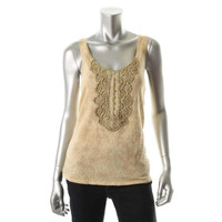 Free People Womens Embellished Double Scoopneck Tank Top