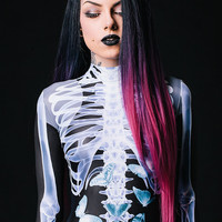 Designer Halloween Costume / X-Ray Catsuit / Realistic Bones / Halloween Clothing / One Piece Bodysuit / Black Catsuit / Top Quality Fabric