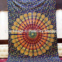 Hippie Boho Wall Tapestries, Psychedelic Star Mandala Tapestry Wall Hanging, Bohemian Tapestries, Mandala tapestries, Twin Mandala Wall Art