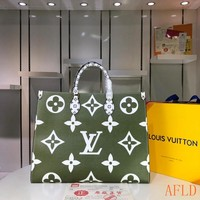 HCXX 19Aug 627 Louis Vuitton LV M44571 Onthego Print Handbag Large-capacity Tote Bag Shopper 41-34-19cm
