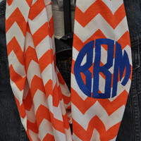 Florida Gators Chevron Infinity Scarf in Soft Jersey Knit Monogram Bridesmaid Gift Florida Gators Gameday scarf