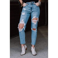 Tobi Distressed Jeans - Blue