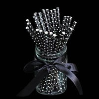 25pcs/lot Black Point Dot Paper Drinking Straws Drinking Tubes Party Supplies Halloween Decoration