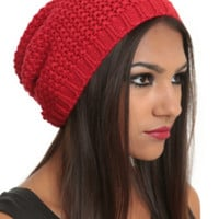 Red Heavy Knit Slouch Beanie