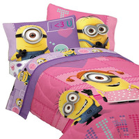 Despicable Me Minions Bedding Set Pink Way 2 Cute Comforter and Sheet Set: Full