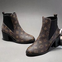 Louis Vuitton Autumn and winter new fashion print leather high top mid heel splice shoes leisure boots Coffee
