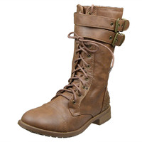 Womens Ankle Boots Buckle Accent Studs Lace Up Combat Boots Tan SZ