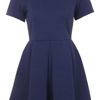 Textured Box Pleat Dress - Navy Blue