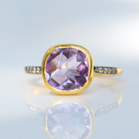 Faceted Natural Purple Amethyst Vermeil Gold White Topaz Pave cushion square shape stacking bezel set ring - February Birthstone