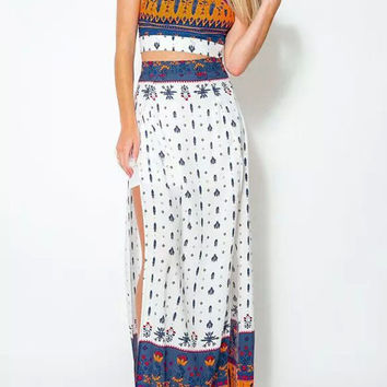 Printed Halter Crop Top and Side Slit Maxi Skirt