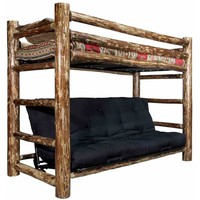 Montana Woodworks - Glacier Country Collection Twin Bunk Bed over Full Futon Frame w/ Mattress