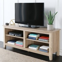 WE Furniture Wood TV Stand, 58-Inch, Natural