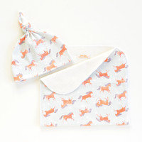 Frisky Horses Organic Cotton Baby Hat and/or Burp Cloth