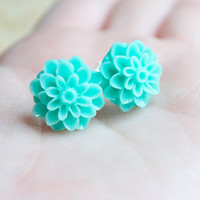 Aqua Mum Stud Earrings, Turquoise Flower Earrings