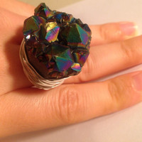 Amethyst titanium druzy ring - huge ring - wrapped ring - cocktail ring - chunky ring - OOAK ring - natural stone ring - any size