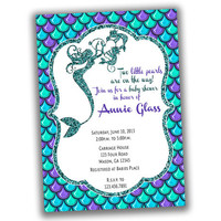 Mermaid Twins Baby Shower Invitation - Two Pearls Mermaid Baby Shower Invitations  - Mermaid Twins - Under The Sea - Twin Girls Shower