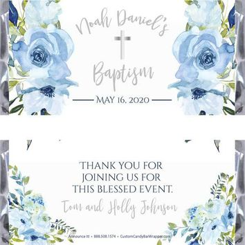 Blue Floral Baptism Candy Bar Wrappers