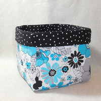Gorgeous Black, Gray and Turquoise Fabric Basket