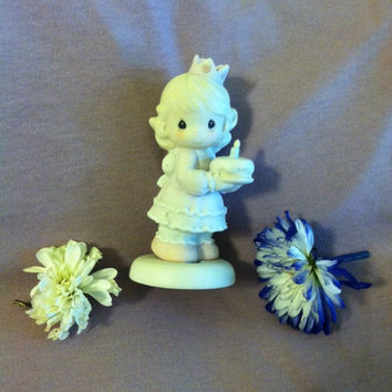 Birthday Wishes Porcelain Girl Figurine Vintage Precious Moments Birthday Wishes With Hugs and Kisses Ceramic Statue Birthday Gift