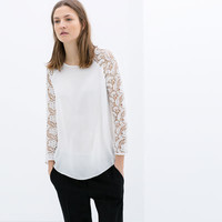 BLOUSE WITH GUIPUR SLEEVE