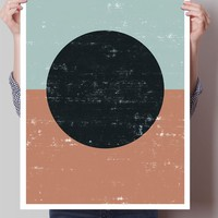 Geometric Watercolor abstract Circle Art Print
