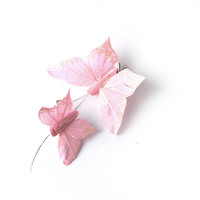 Crown and Glory Hair Accessories — Feather Glitter Butterfly Clips - Pink