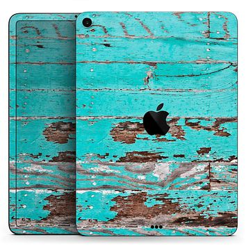 "Turquoise Chipped Paint on Wood - Full Body Skin Decal for the Apple iPad Pro 12.9"", 11"", 10.5"", 9.7"", Air or Mini (All Models Available)"
