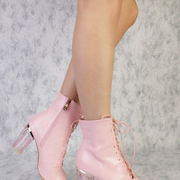 Foot Candy Pink Clear Heel Gladiator Bootie