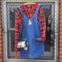 vintage 90s Disney store Pooh denim dress with Pooh and floral embroidered patch pockets and POOH inscribed buttons (s)