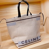 Celine Fashion New Letter Print Canvas Shoulder Bag Crossbody Bag Handbag