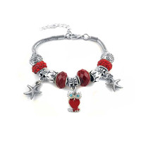 "Ben & Jonah Stainless Steel Murano Beads and Charm Bracelet with Owl and Seastars (Adjustable Length 7.5""-9.25"")"