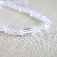 Rock Crystal Quartz Gemstone Smooth Rectangle 7 to 8mm Full Strand 40 beads Wholesale