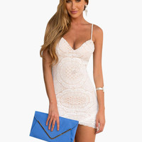 White Spaghetti Strap Floral Lace Bodycon Mini Dress