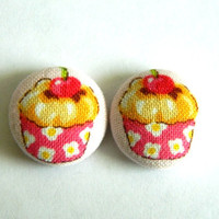 Button Earrings Cupcakes Light Pink Background Color