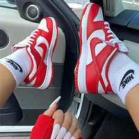 NIKE air jordan 1 low aj1 White and red low top casual shoes