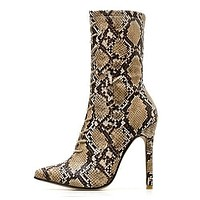 Lace-Up Women Snake Print Ankle Boots 601