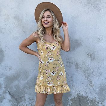 Sweet As Can Be Yellow Floral Shift Dress