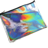 Over sized Holograph,Fashion Zipper Clutch Bag, Purse