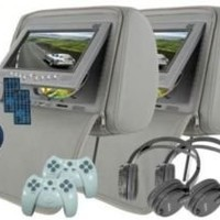 """Headrest 7"""" LCD Car Monitors with Region Free DVD player USB SD Inc. Wireless Headhones and 32 Bit Games (Gray, Pair): Car Electronics"""