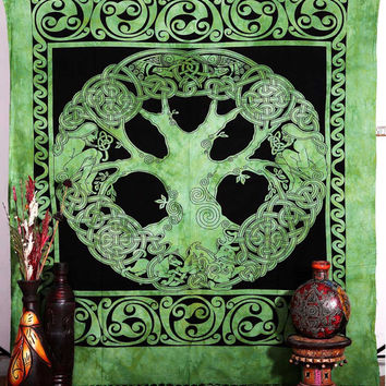 Celtic Tree of Life Tapestry Bedspread, Irish Tree of Life Celtic Tapestry, Boho tapestry, Wall Hanging, Tree of life tapestry, beach sheet