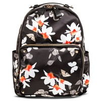 Women's Floral Print Nylon Backpack Handbag Black - Miztique